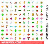 100 garden icons set in cartoon ... | Shutterstock . vector #598447379