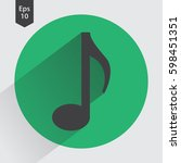 music note flat icon. simple... | Shutterstock .eps vector #598451351