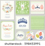 vector happy easter templates... | Shutterstock .eps vector #598453991