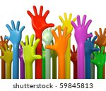 Colourful Hands Isolated On...
