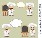 vector set of cooks in... | Shutterstock .eps vector #598461239