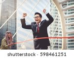 businessman running to the... | Shutterstock . vector #598461251