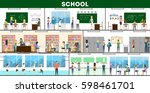school interior set. maths and...   Shutterstock .eps vector #598461701
