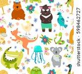 animal pattern with australian...   Shutterstock .eps vector #598462727
