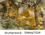 watercolour painting of... | Shutterstock . vector #598467539