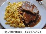 beer pork roast with dark beer... | Shutterstock . vector #598471475