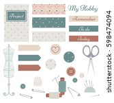 set of vector sewing materials  ... | Shutterstock .eps vector #598474094
