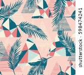trendy seamless exotic pattern... | Shutterstock .eps vector #598474241