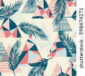 trendy seamless exotic pattern... | Shutterstock .eps vector #598474271