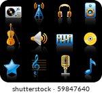 music black background icon set.   Shutterstock .eps vector #59847640