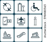 set of 9 airport icons.... | Shutterstock .eps vector #598480565
