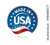 made in usa label logo stamp... | Shutterstock .eps vector #598480577