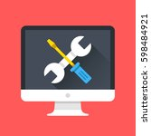 computer icon with wrench and... | Shutterstock .eps vector #598484921