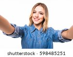portrait of a smiling cute... | Shutterstock . vector #598485251