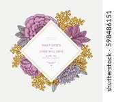 floral wedding invitation... | Shutterstock .eps vector #598486151