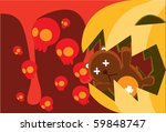 image of angry pumpkin ghost... | Shutterstock . vector #59848747