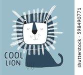 cool lion illustration vector... | Shutterstock .eps vector #598490771