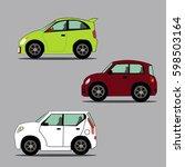 car vector cartoon icons  | Shutterstock .eps vector #598503164