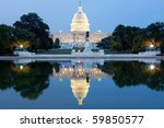 Stock photo the united states capitol building in washington dc usa after dark with water reflection 59850577