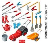 set of various gardening items. ... | Shutterstock .eps vector #598509749