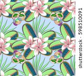 seamless texture of floral... | Shutterstock .eps vector #598510091