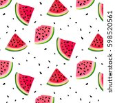 vector watermelon slices... | Shutterstock .eps vector #598520561