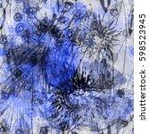 blue floral seamless texture... | Shutterstock .eps vector #598523945