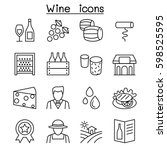 wine icon set in thin line style | Shutterstock .eps vector #598525595