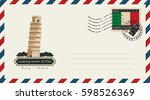 an envelope with a postage... | Shutterstock .eps vector #598526369