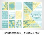 set of summer background... | Shutterstock .eps vector #598526759