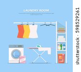 laundry room with washing... | Shutterstock .eps vector #598529261