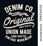vintage denim typography for t... | Shutterstock .eps vector #598534535