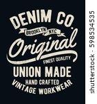 vintage denim typography for t... | Shutterstock .eps vector #598534535