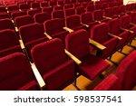 red velvet seats for spectators ... | Shutterstock . vector #598537541