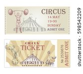 circus horizontal tickets front ... | Shutterstock .eps vector #598542209