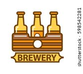 package of three beer bottles...   Shutterstock .eps vector #598542281