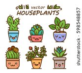 cute lovely kawaii houseplants... | Shutterstock .eps vector #598548857