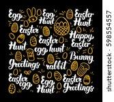 easter egg calligraphy design.... | Shutterstock .eps vector #598554557