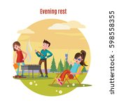 colorful outdoor recreation... | Shutterstock .eps vector #598558355