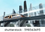 concept of magnetic levitation... | Shutterstock . vector #598563695