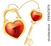 Lock And Key In Red Heart Shape ...