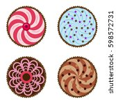 cupcakes with beautiful... | Shutterstock .eps vector #598572731