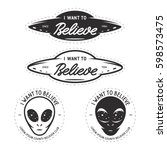 i want to believe patches set.... | Shutterstock .eps vector #598573475