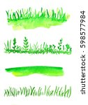 watercolor collection of grass. ... | Shutterstock . vector #598577984