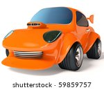 Orange Car On White Background