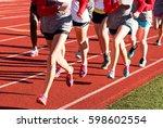 girls cross country workout...   Shutterstock . vector #598602554