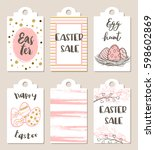 set of pink and white easter... | Shutterstock .eps vector #598602869