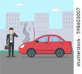 businessman with broken car.... | Shutterstock . vector #598603007