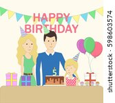 isolated birthday family in the ... | Shutterstock . vector #598603574