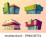 set of vector cartoon buildings ... | Shutterstock .eps vector #598618721